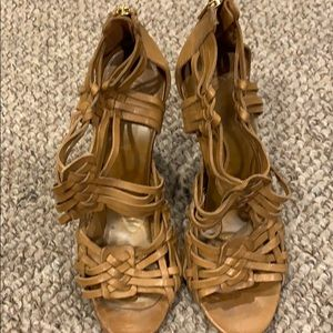 Tory Burch Tan Leather Wedge size 10